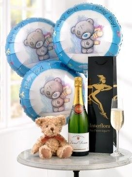 celebratory champagne baby boy balloons and teddy bear aberdeen flowers. Black Bedroom Furniture Sets. Home Design Ideas