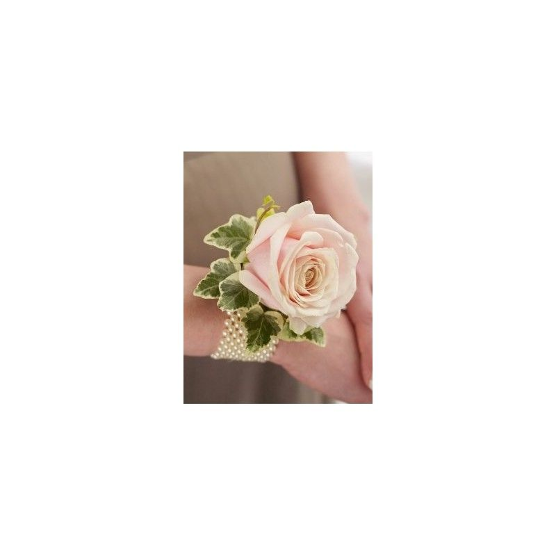soft pink rose and pearl wrist corsage  aberdeen flowers, Natural flower