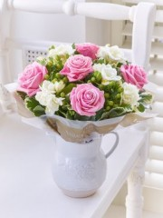 Fragrant Pink Rose and Freesia Jug