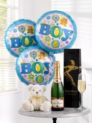 Celebratory Champagne, Baby Boy Balloons & Teddy Bear