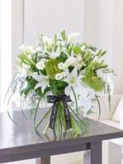 Luxury White Lily and Anthurium Contemporary Hand-tied