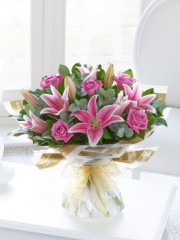 Mother's Day Pink Rose and Lily Hand-tied