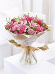 Pink Lily, Rose and Lisianthus Hand-Tied