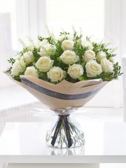 Dramatic Two Dozen White Roses