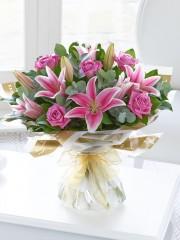 Pink Rose and Lily Hand-tied