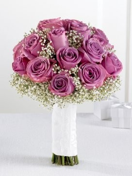 Lavender Rose & Gypsophila Bridal Bouquet