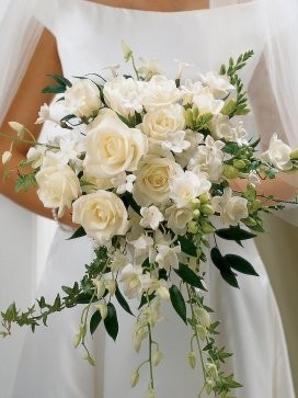 Ivory Rose & Orchid Scented Bridal Bouquet
