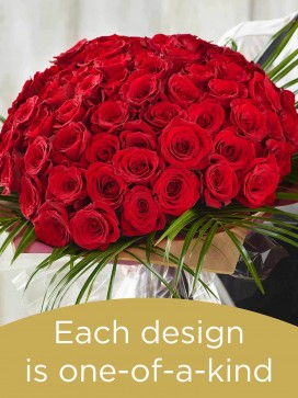 100 red rose hand-tied made with deluxe roses